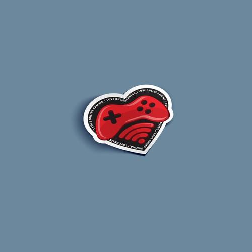 "sticker design for ""I love online gaming"""
