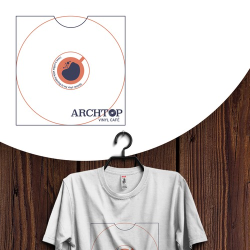 T-shirt design for vinyl cafe