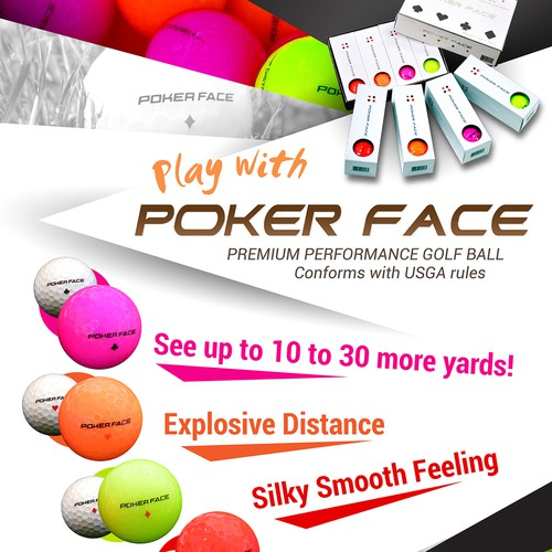 Poker Face Golf Ball Poster