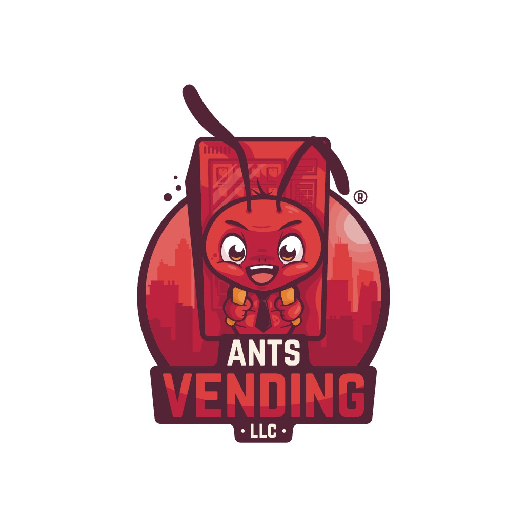 Best Ant mascot carrying a vending machine smiling