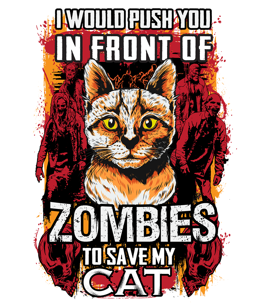 Design A Personalised Cat/Zombies Typography T-Shirt - GUARANTEED PRIZE