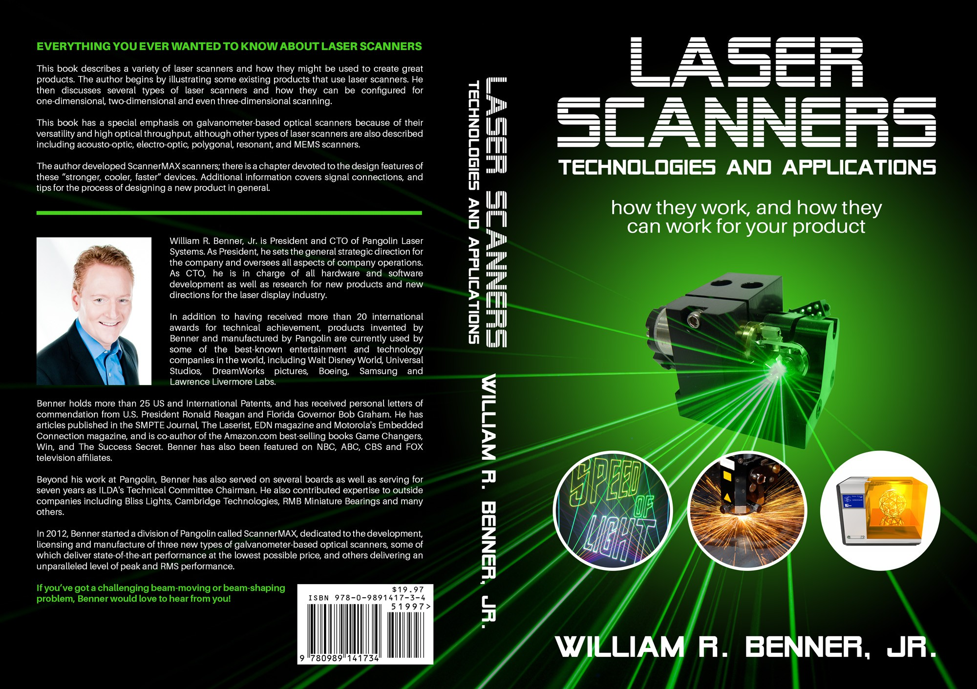 Create an excellent, clean and compelling book cover for a book about laser scanners