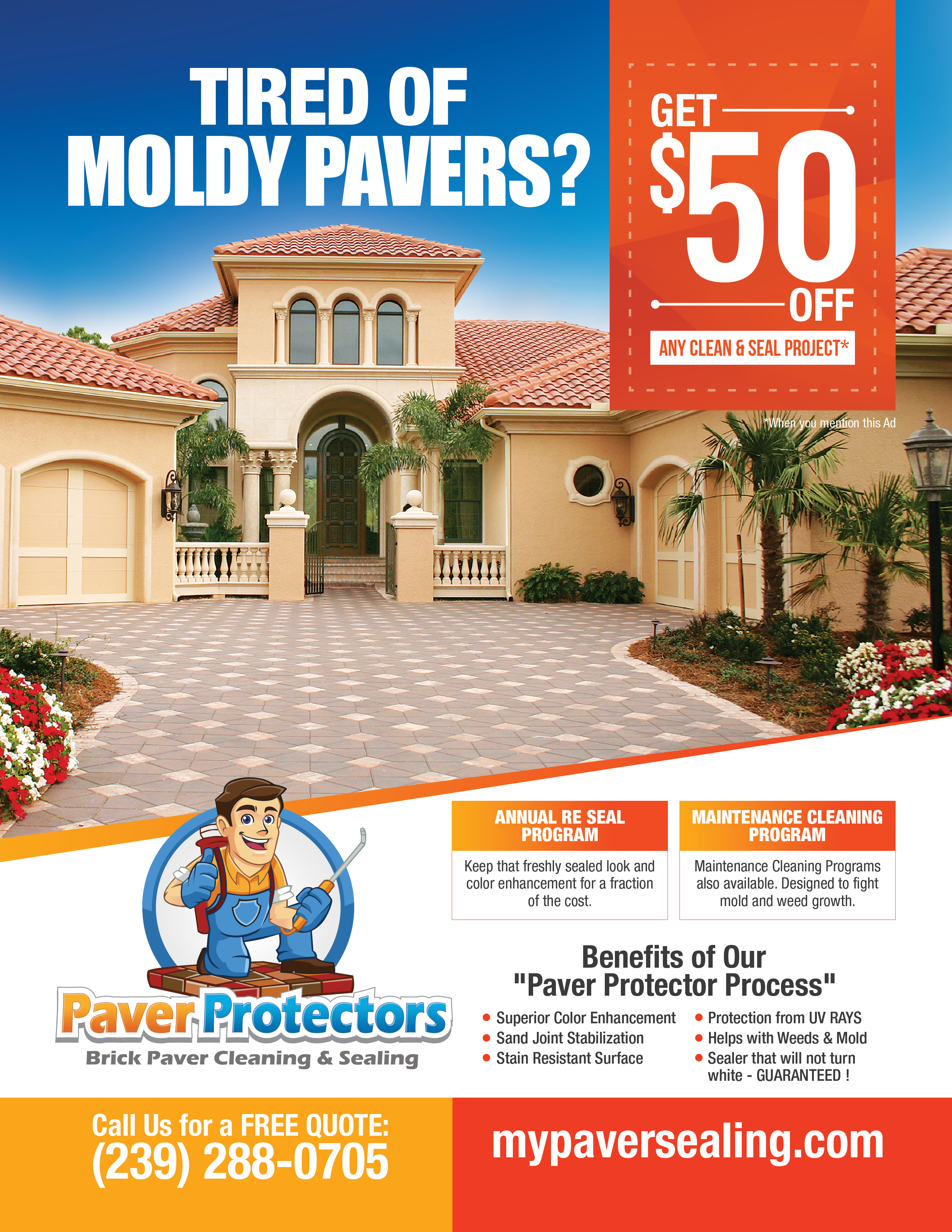 Create an 8.5 x 11 ad for Paver Protectors