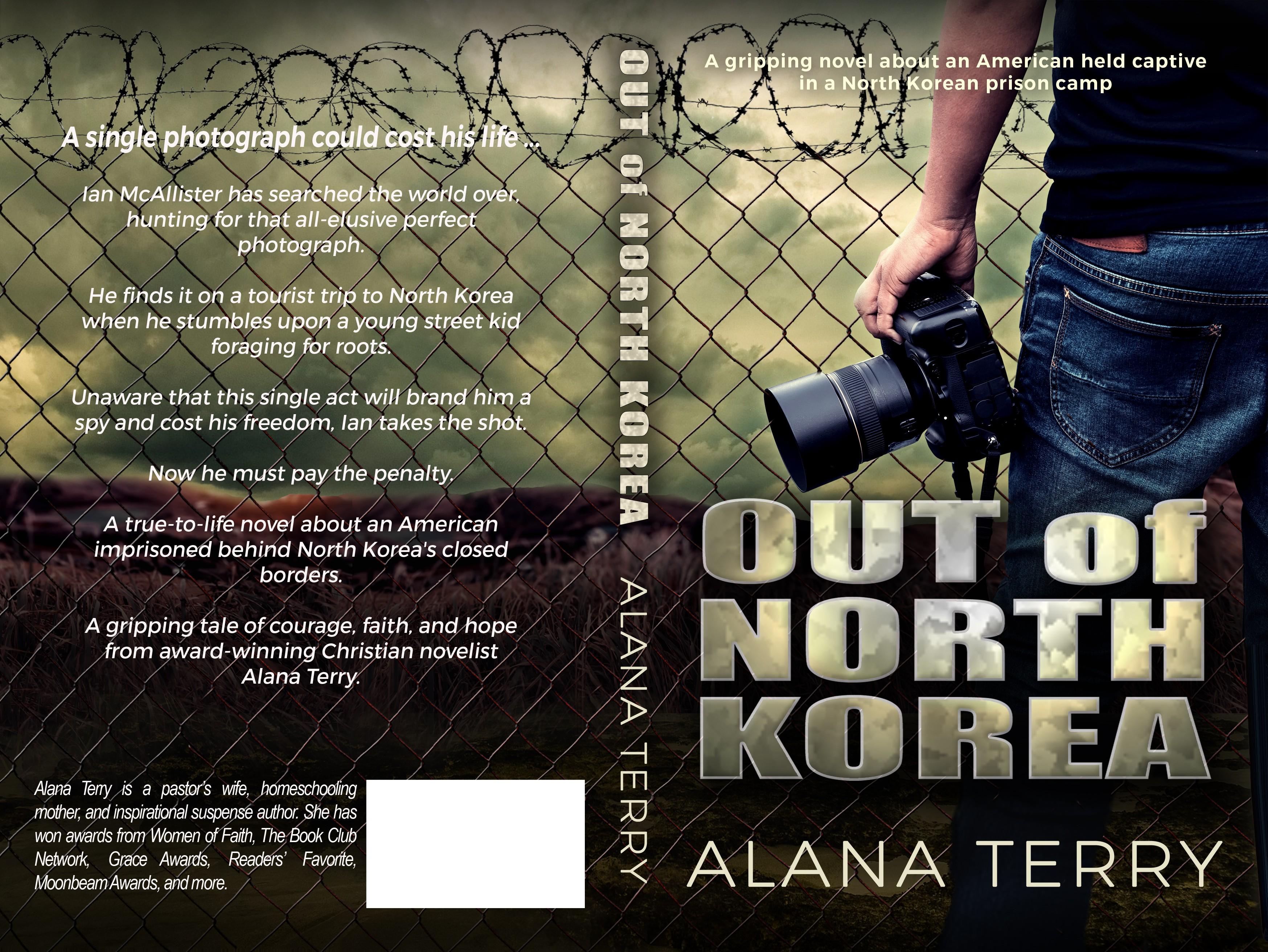 Thriller cover for suspenseful novel set in North Korea