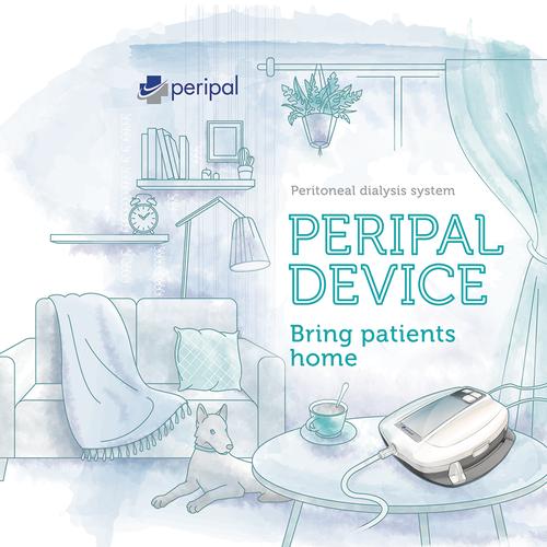Digital watercolor illustration for medical device