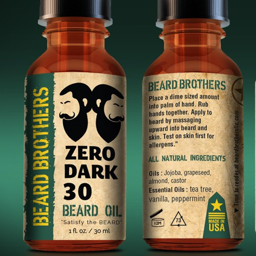 Create a modern looking label for beard oil bottle.