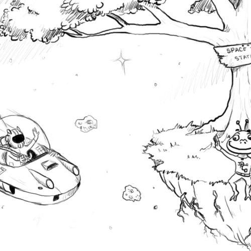 "Raw Sketches for ""Critter Space Adventures"" story and game"