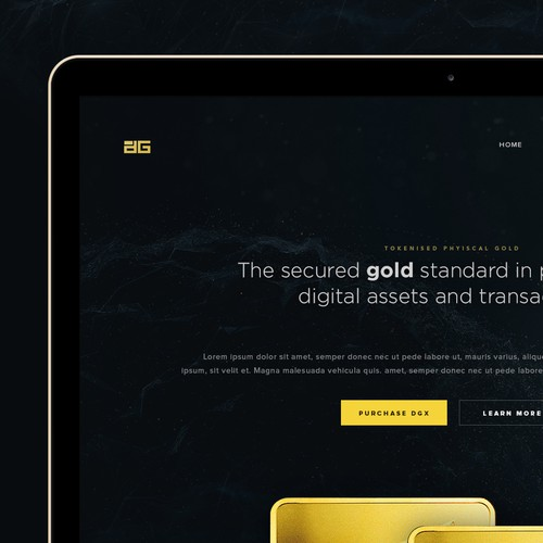 Futuristic, elegant landing page for gold-backed digital assets; DigiX
