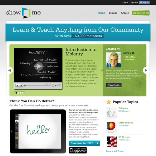 Website Redesign for ShowMe, a learning community with over 150,000 members