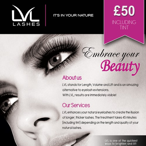 Flyer design for LVL Lashes