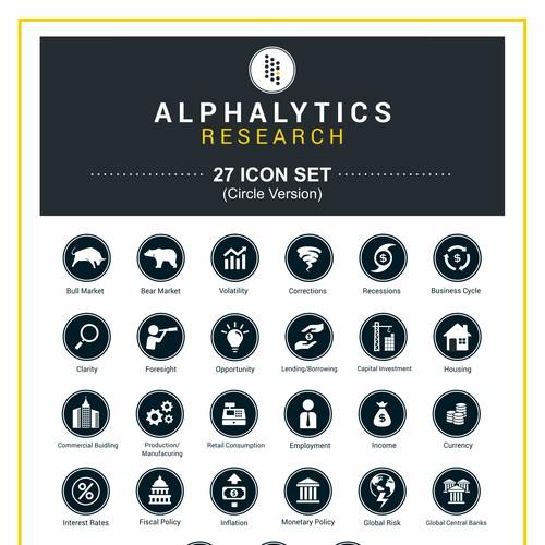 Icon set for alphalitics