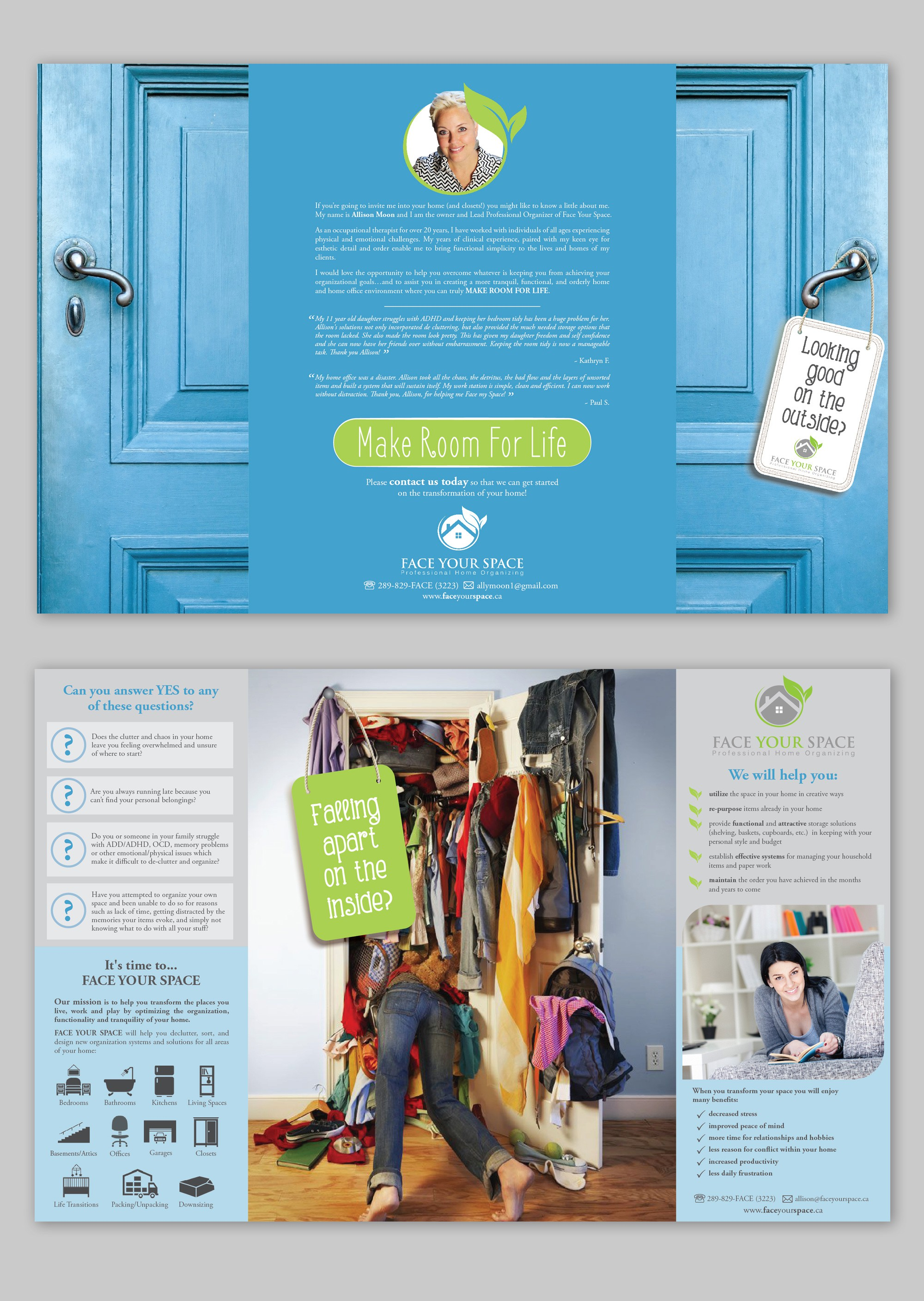 Create a stylish, modern, creative brochure for my professional home organizing business