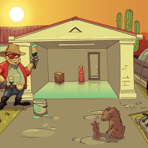 Cartoonish postcard-sized GIF image to advertise a garage floor painting business in Phoenix, AZ.