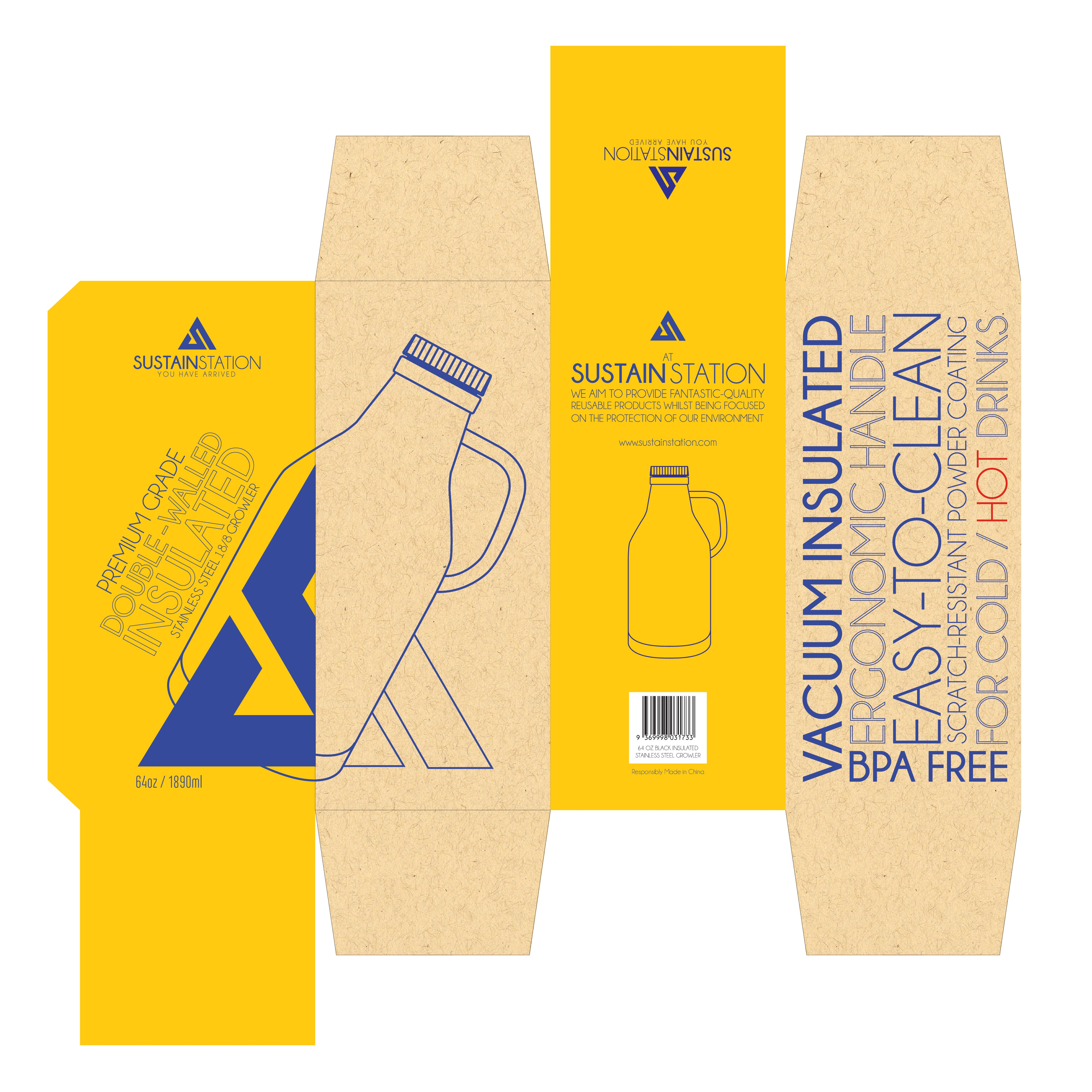 Create an amazing packaging design for a beer growler water bottle