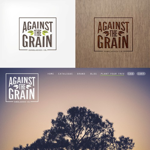 Create a logo for Against The Grain Sunglasses, a eco-fashion startup