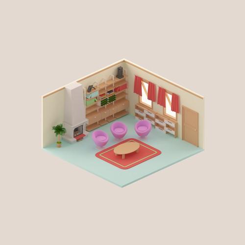 Isometric cartoony feel room design.