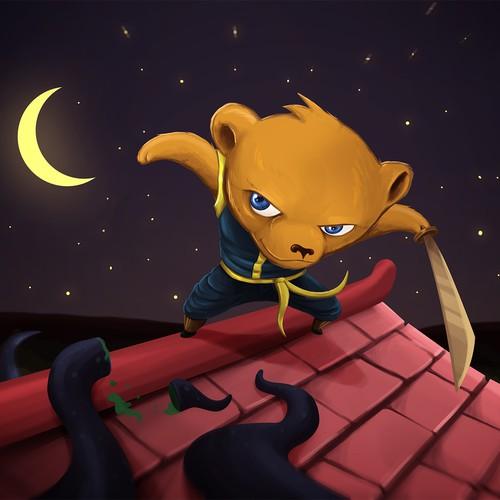 Ninja Bear Illustration