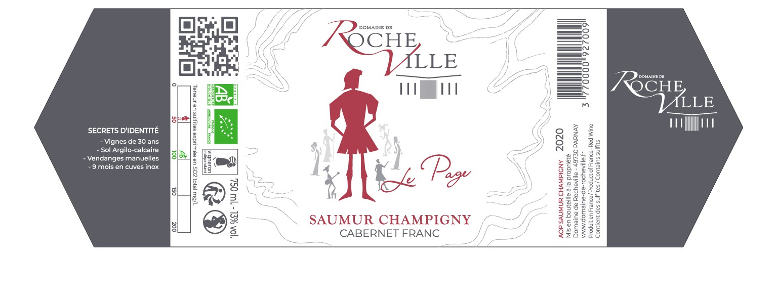 New label for an Organic , Saumur Champigny , Loire Valley wine