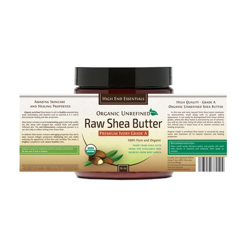 Organic Shea Butter label