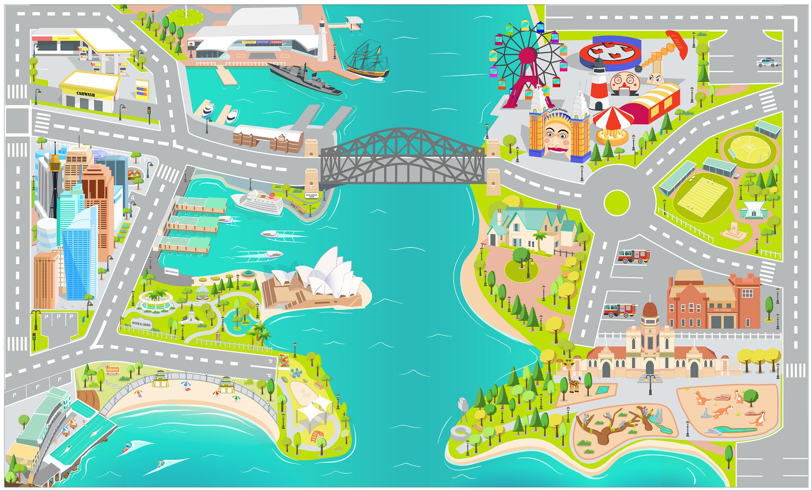 Sydney City Kids Play Mat Design / Illustration