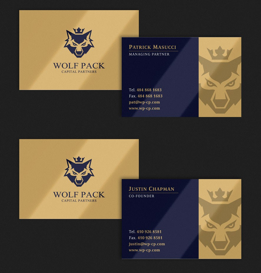 logo and business card for Wolf Pack Capital Partners