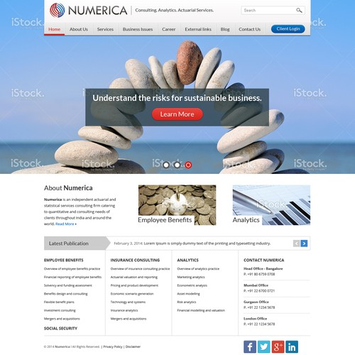 Create a beautiful and professional website for Numerica