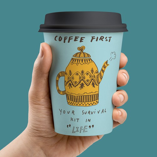 illustration for coffee paper cup