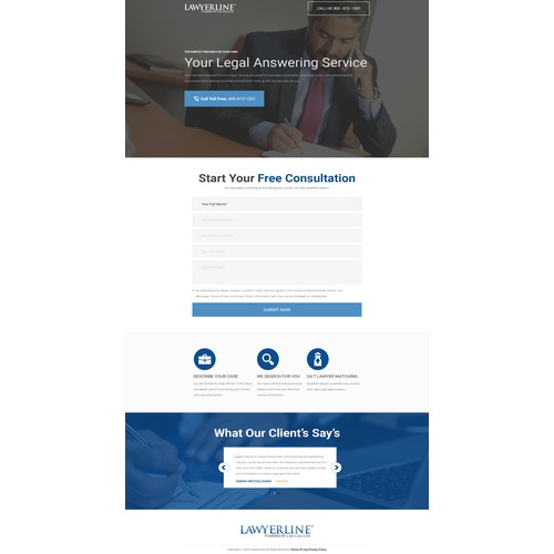 LawyerLine Needs A Clean Landing Page Design!