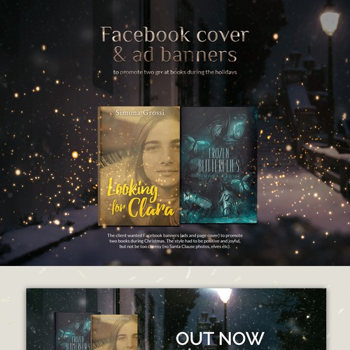 Facebook cover and ad banner for a book release, Christmas themed