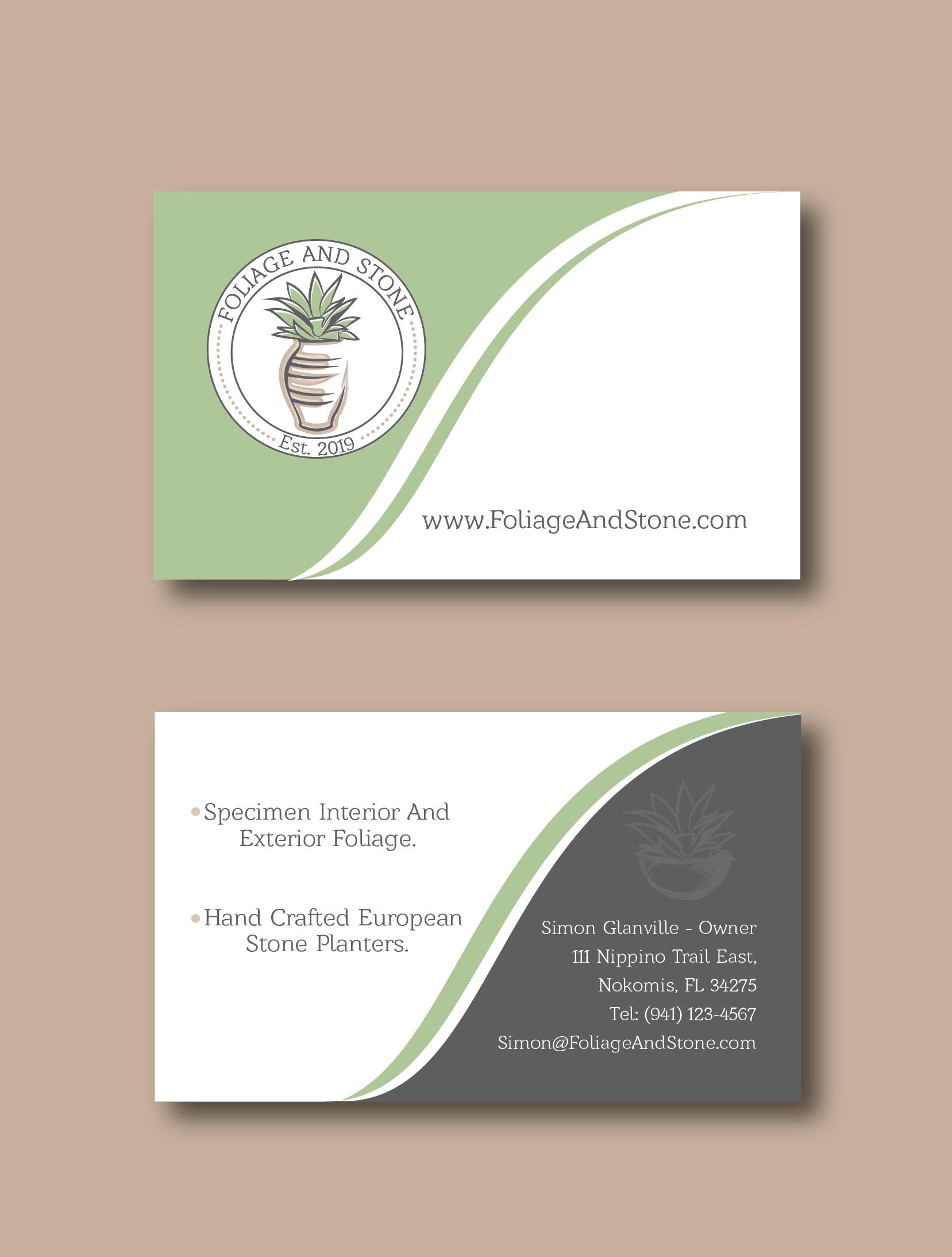 Business Card Design - Foliage And Stone