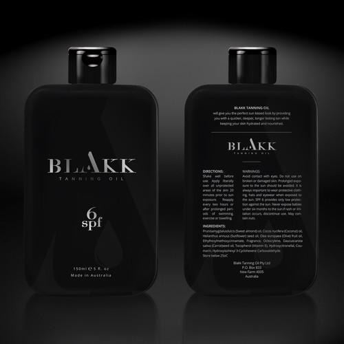Package design for BLAKK Tanning Oil