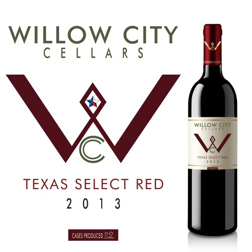 Create edgy Texas wine label .