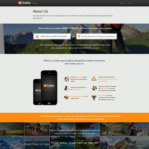 **Guaranteed $** Rework ABOUT US page for HOT new outdoor focused mobile app & website - TREKZ!
