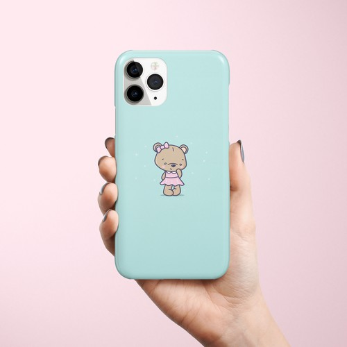 Phone case design with teddy bear