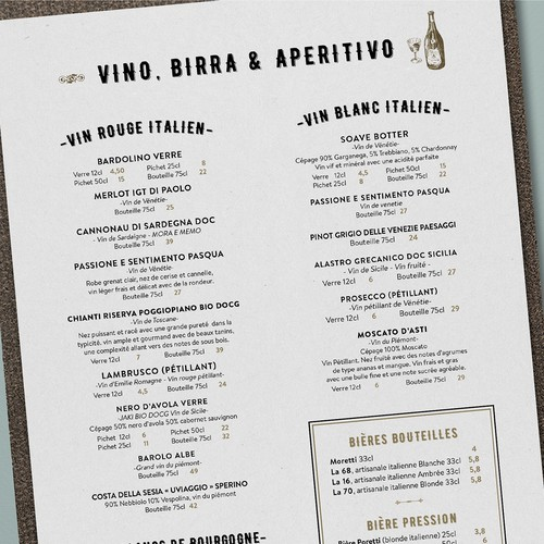 Rustic menu design for Italian restaurant