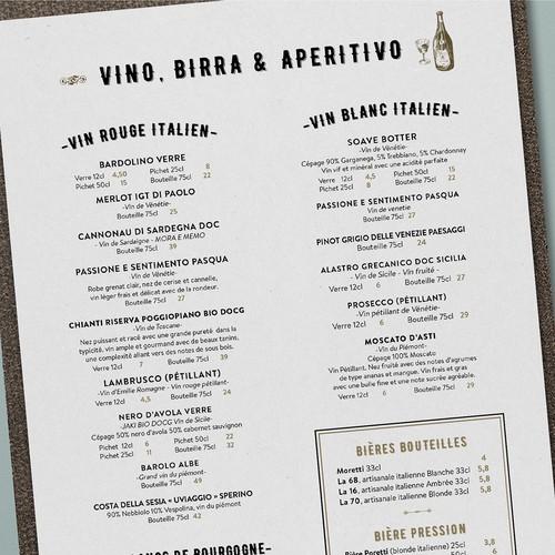 Rustic menu design for Italian restaurant