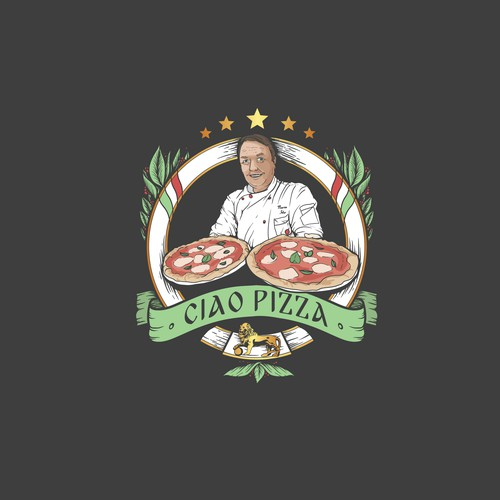 Hand-drawn Itallian Pizza restaurant - Logo design