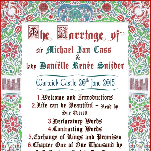 Medieval themed wedding invitation