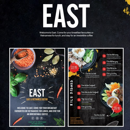 Menu for Vietnamese Restaurant - EAST CAFE