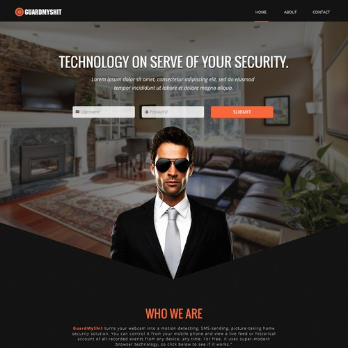 Landing page concept for a security website