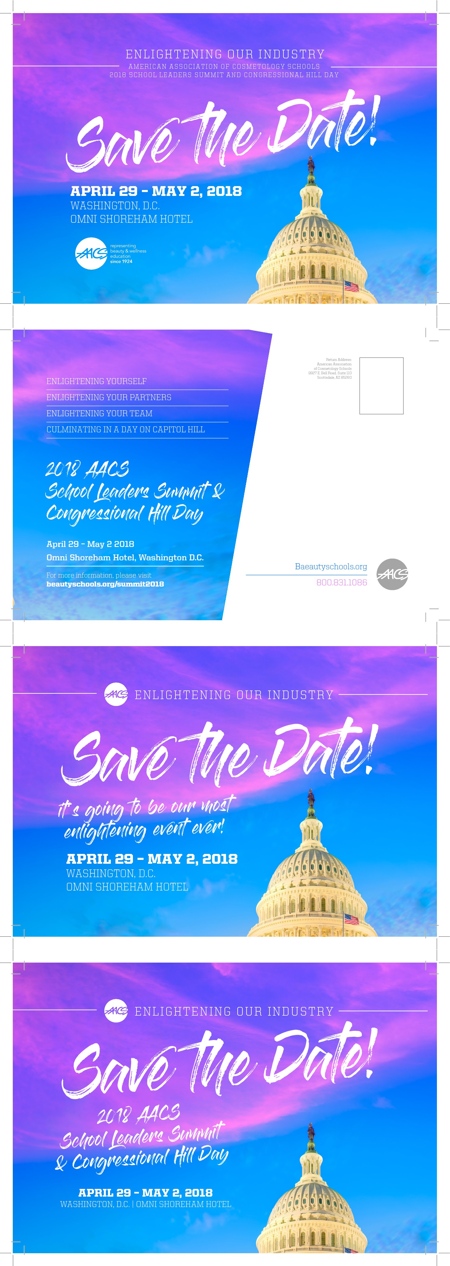 Design an epic Save the Date postcard for an Association meeting in D.C.