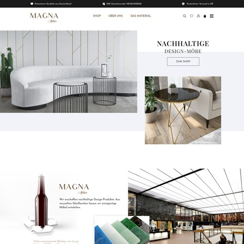 luxury eco-friendly furniture online store - with recycled glass