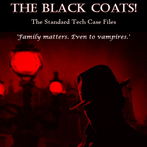 Create an awesome cover for my next novel, The Standard Tech Case Files: The Black Coats!
