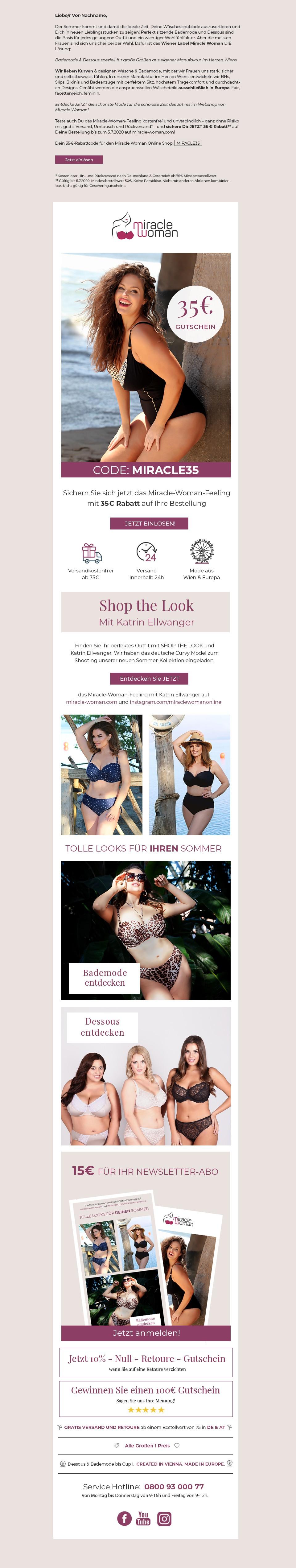Design Stand Alone Mailing Plus-Size-Lingerie & Bademode für Damen