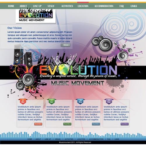 website design for Evolution Music Movement