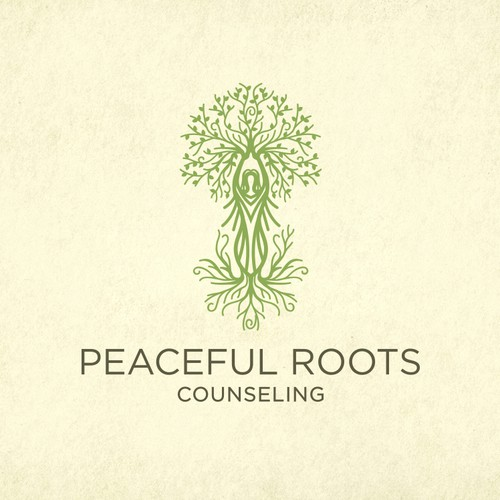 Private Counseling Practice Needs a Warm, Soft, Nature-themed Logo and Website Template with Tree, Root and Yoga Imagery