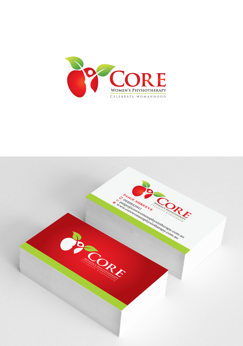 Create a fresh logo and business card for a womens physiotherapy clinic