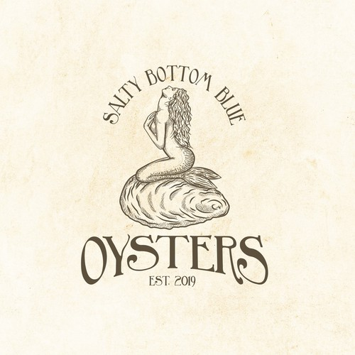 Mermaid hand-drawn logo for oysters producer