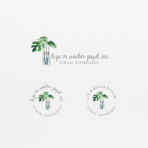 Delicate, feminine watercolor style leaf logo