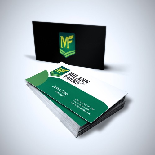 Create the next logo and business card for Milann Farms Inc.